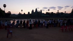 Time Lapse at Dawn over the Temple of Angkor Wat, Cambodia, Asia Stock Footage