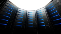 Network Servers in Circle (Loop) Stock Footage