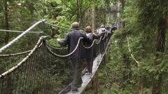 Forest canopy walkway 2 - stock footage