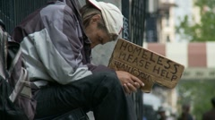 Homeless, Please Help - slow motion - stock footage