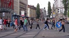 Pedestrians Crossing Stock Footage