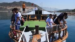Voyage. Kekova-Simena Region, Turkey, Kemer, Andriake bay - stock footage