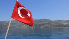 Voyage. Turkey, Kemer. Turkish national flag Stock Footage