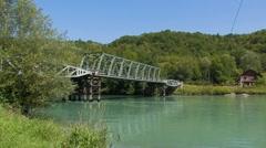 Rhone river, steel bridge, France Stock Footage