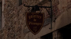 Ancient restaurant in medieval city Perouges in France Stock Footage