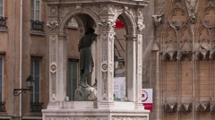 Historic fountain, Lyon, France Stock Footage