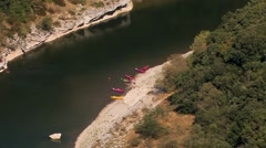 Ardeche River, Aerial view from mountain to canoes in France Stock Footage