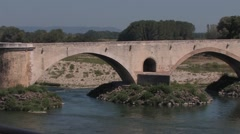 Bridge over River in Beziers, France Stock Footage