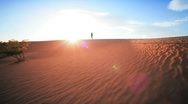 Stock Video Footage of Lone Figure Trekking in Desert Environment