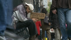 Homeless, Please Help - NYC - stock footage