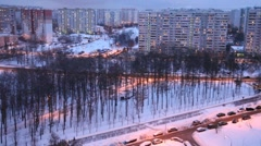 Part of a modern city in winter evening Stock Footage