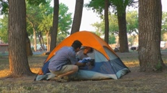 Tent on campground Stock Footage