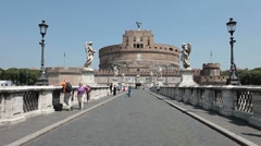 Rome Bridge of Angels Castel Sant Angelo P HD 0470 Stock Footage