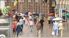 People go to Khreshchatyk street  in Kyiv Stock Footage