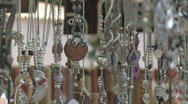Jewelry hanging in Market Stock Footage