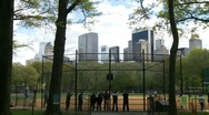 Baseball in Central Park Stock Footage
