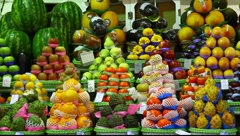 Choice of fresh tropical fruits offered in the market  FULL HD 1080P Stock Footage
