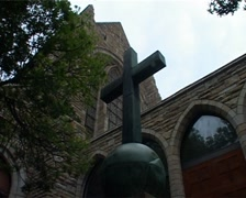 Cross at St George's Cathedral, Cape Town and whip off, GFSD Stock Footage