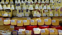 Stock Video Footage of Choice of gourmet cheese offered in the market FULL HD 1080P
