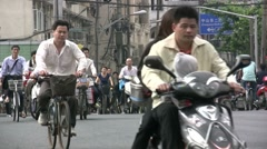 Busy bicycle lane in Shanghai Stock Footage