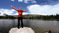 Lone Female Achieving her Hiking Ambitions Stock Footage