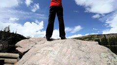Achievement of Lone Female Hiking a National Park - stock footage