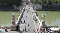 Rome Bridge of Angels fast TL P HD 0460 Stock Footage