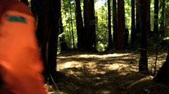 Lone Female Trekking Through a National Park - stock footage