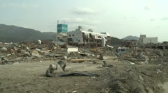 Japan Tsunami Aftermath - Remains Of Town Wiped Out Stock Footage