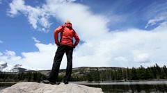Female Hiker in Rockies National Park - stock footage