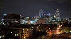 Denver City Night Time-lapse Stock Footage