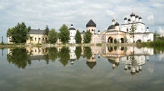 Famous russian monastery Davidova Pustin, sound with peal Stock Footage