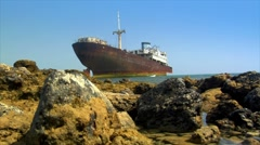 Shipwreck on ground Stock Footage