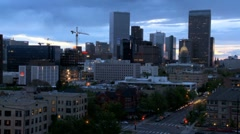 Time-lapse of Denver City Construction at Dusk Stock Footage