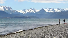 Fishing on the beach in Alaska Stock Footage