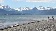Fishing on the beach in Alaska Stock Footage