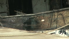 Japan Tsunami Aftermath - Burnt Out Ship In Port Stock Footage
