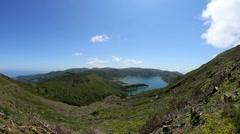 Lagoa do Fogo - The fire lake, pan Stock Footage
