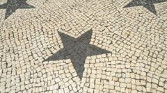 Ponta Delgada star mosaic and café Stock Footage