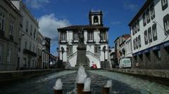 Ponta Delgada city fountain Stock Footage