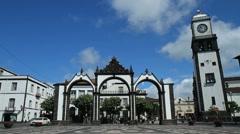 Ponta Delgada city gates - stock footage