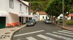 Main square, Povoação, pan - stock footage