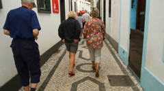 Tourists walking in Povoação - stock footage