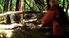 Female Jogging on Rugged Park Trails Stock Footage