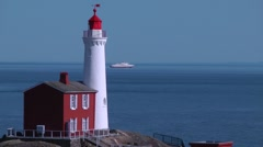 Fisgard Lighthouse and Coho Ferry Stock Footage