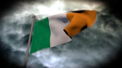 Facing Bad Weather: Irish Flag (HD) Stock Footage