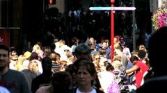 Crowd on sidewalk Stock Footage