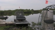 Stock Video Footage of Airboat on the river dock