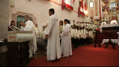 Mass of Corpus Christi in Paraty, Brazil, FULL HD 1080P Stock Footage