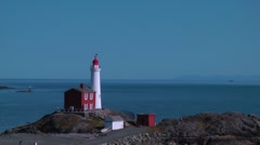Fisgard Lighthouse and Strait of Juan de Fuca Stock Footage